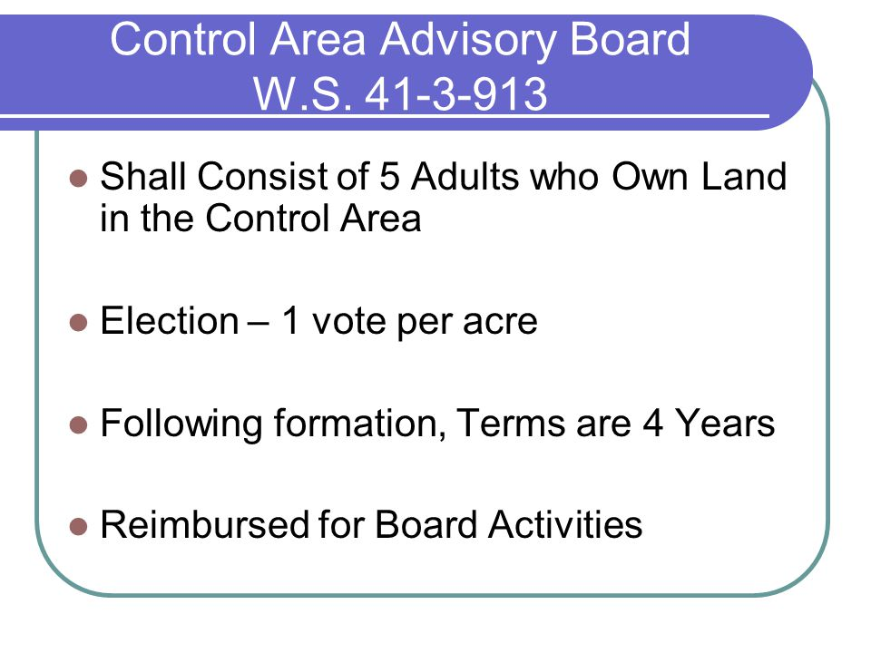 Control Area Advisory Board W.S.