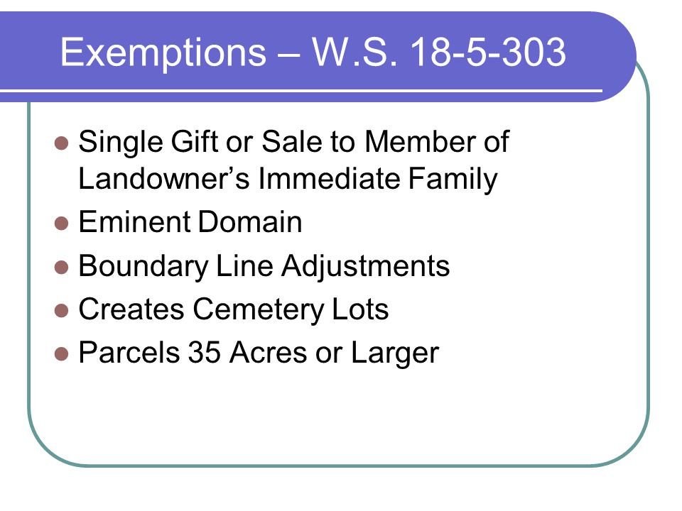 Exemptions – W.S.