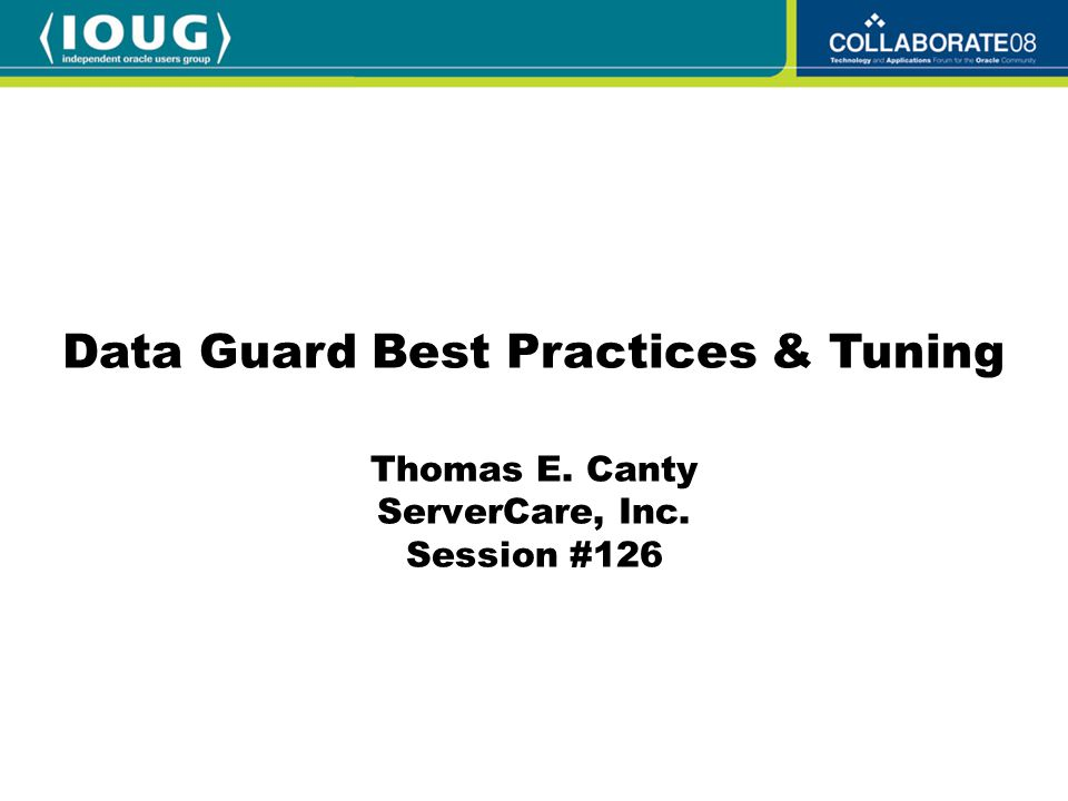 Speaker Qualifications Thomas E.Canty, Senior Oracle DBA, ServerCare, Inc.