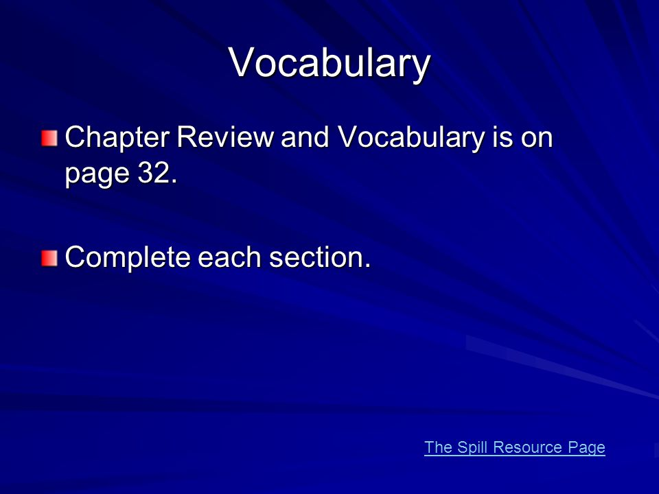 Vocabulary Chapter Review and Vocabulary is on page 32.