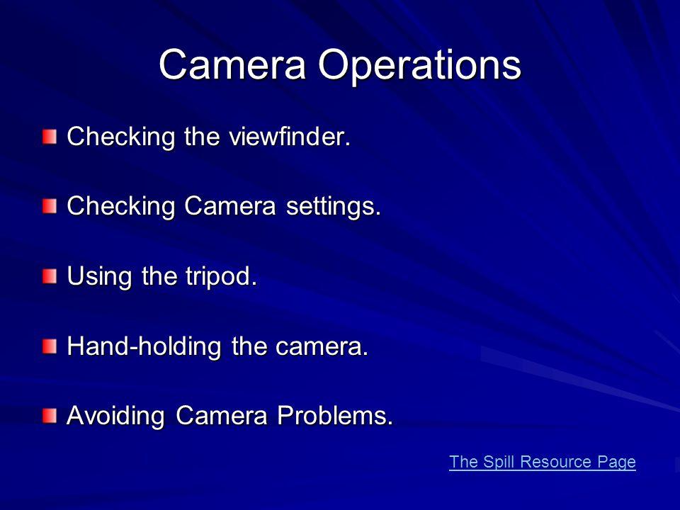 Camera Operations Checking the viewfinder. Checking Camera settings.