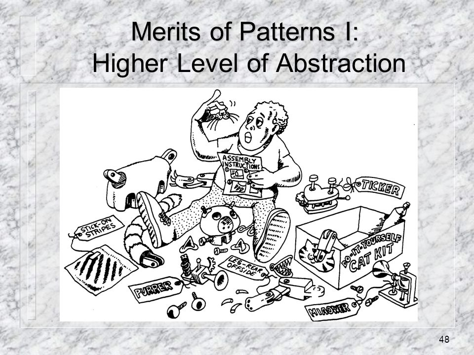 48 Merits of Patterns I: Merits of Patterns I: Higher Level of Abstraction