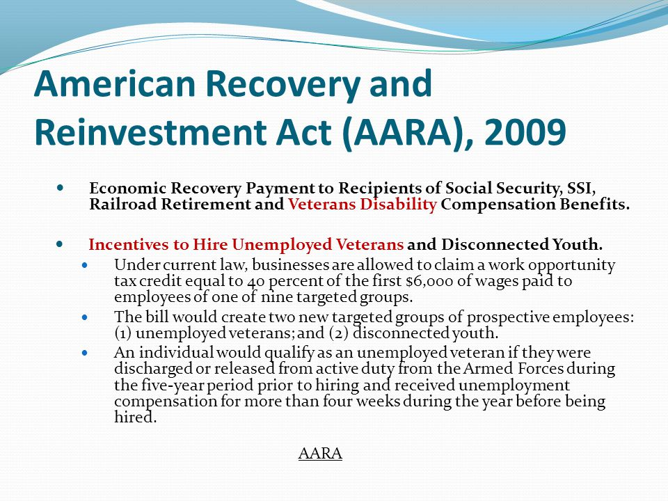 Economic Recovery Payment to Recipients of Social Security, SSI, Railroad Retirement and Veterans Disability Compensation Benefits.