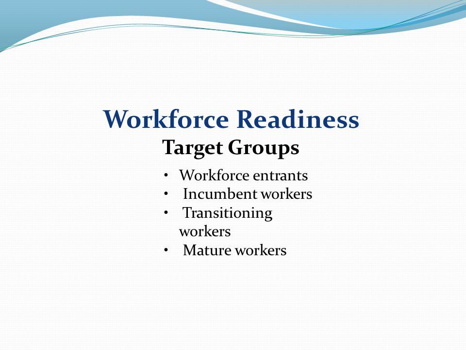 Workforce entrants > veterans Incumbent workers Transitioning workers > veterans Mature workers TSC Target Group 2010-2011
