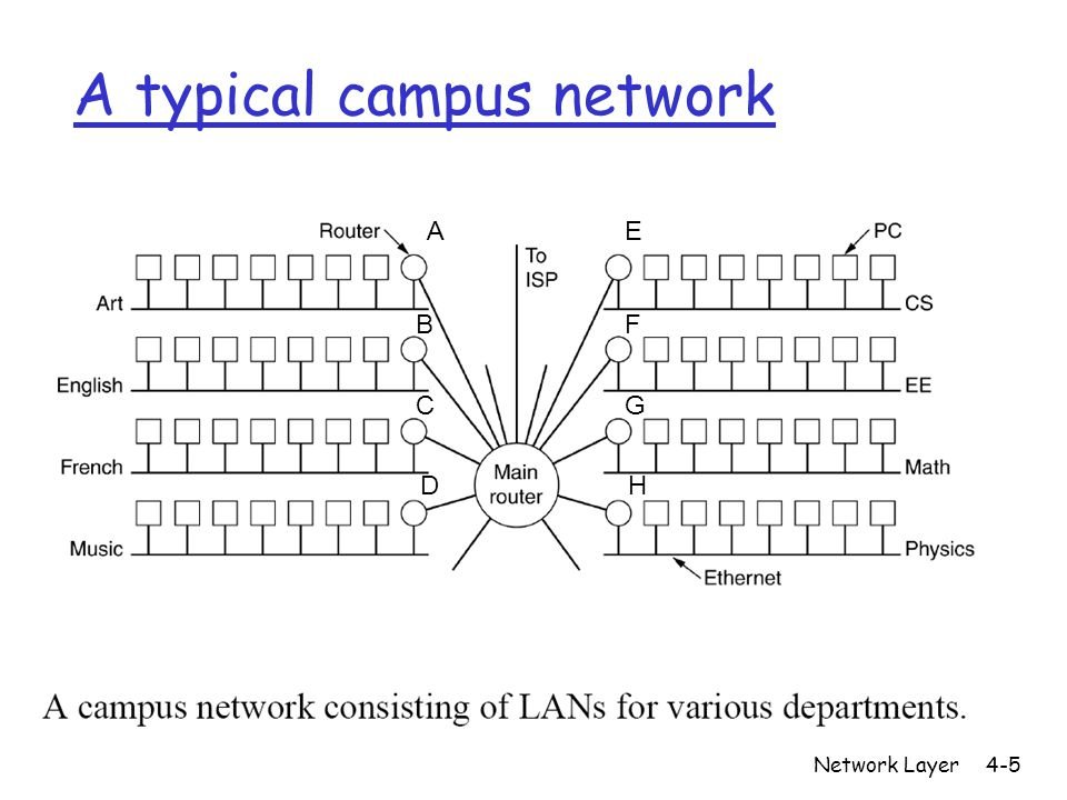 Network Layer4-5 A typical campus network A B C D E F G H