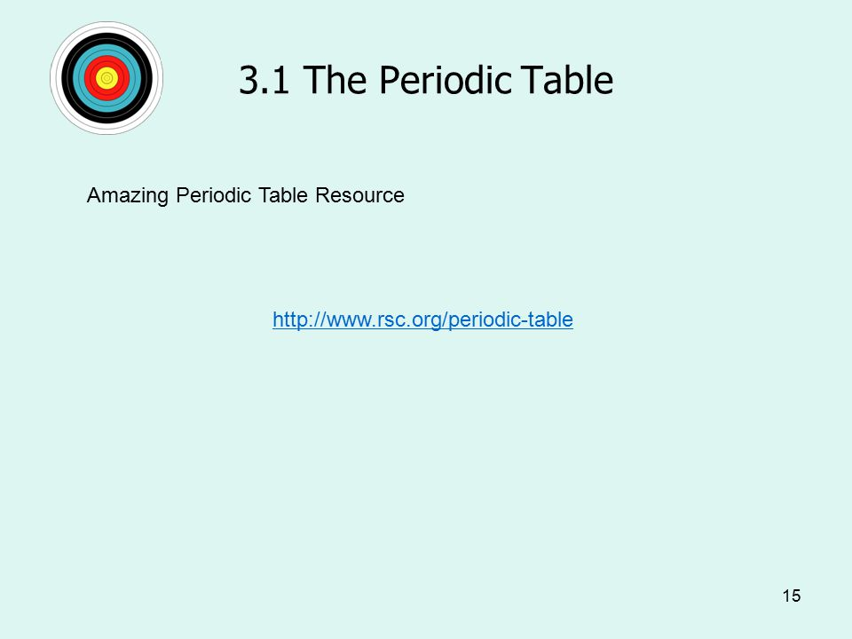 3.1 The Periodic Table 15 http://www.rsc.org/periodic-table Amazing Periodic Table Resource