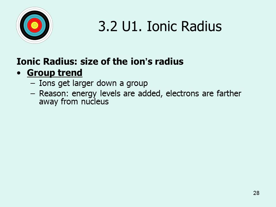 28 3.2 U1. Ionic Radius Ionic Radius: size of the ion's radius Group trend –Ions get larger down a group –Reason: energy levels are added, electrons a