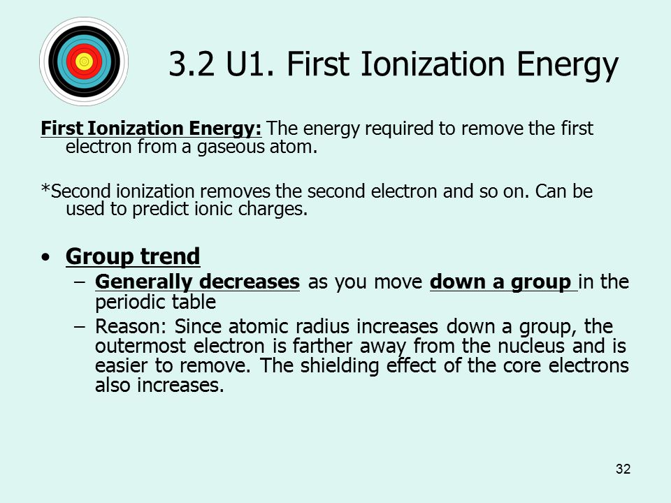 32 3.2 U1. First Ionization Energy First Ionization Energy: The energy required to remove the first electron from a gaseous atom. *Second ionization r
