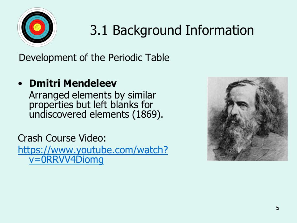5 3.1 Background Information Development of the Periodic Table Dmitri Mendeleev Arranged elements by similar properties but left blanks for undiscovered elements (1869).
