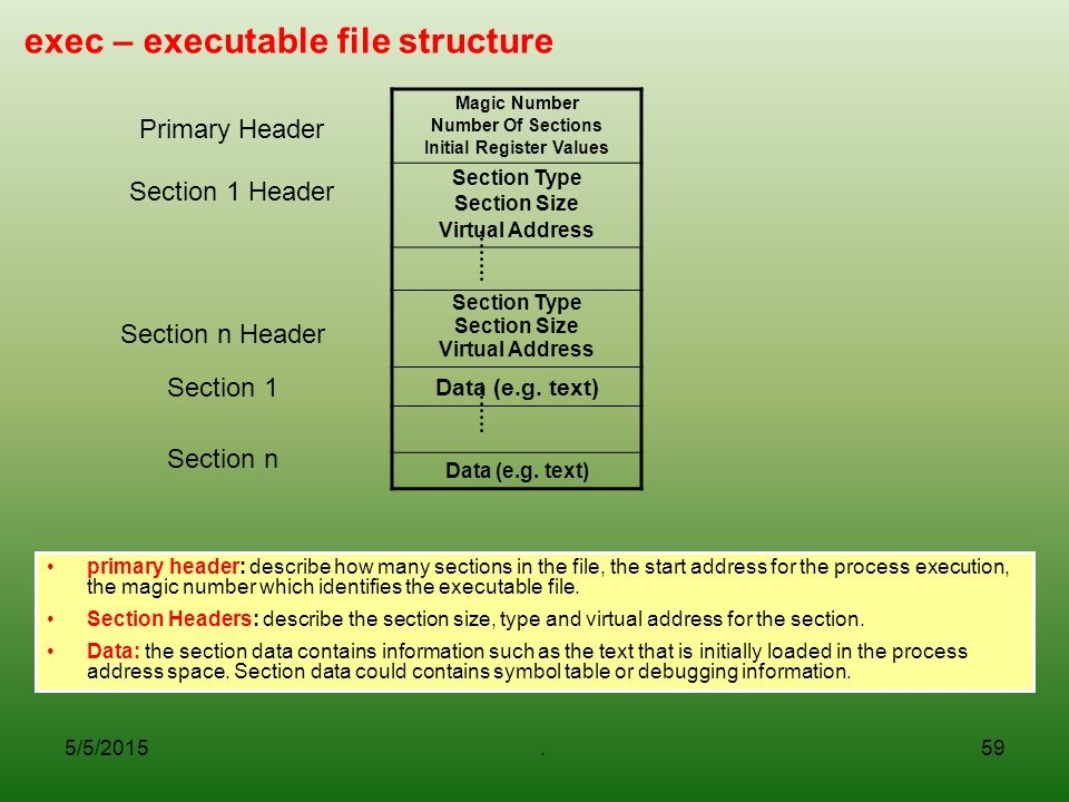5/5/2015.59 exec – executable file structure primary header: describe how many sections in the file, the start address for the process execution, the magic number which identifies the executable file.