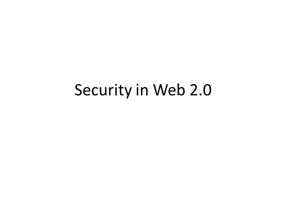 Security in Web 2.0