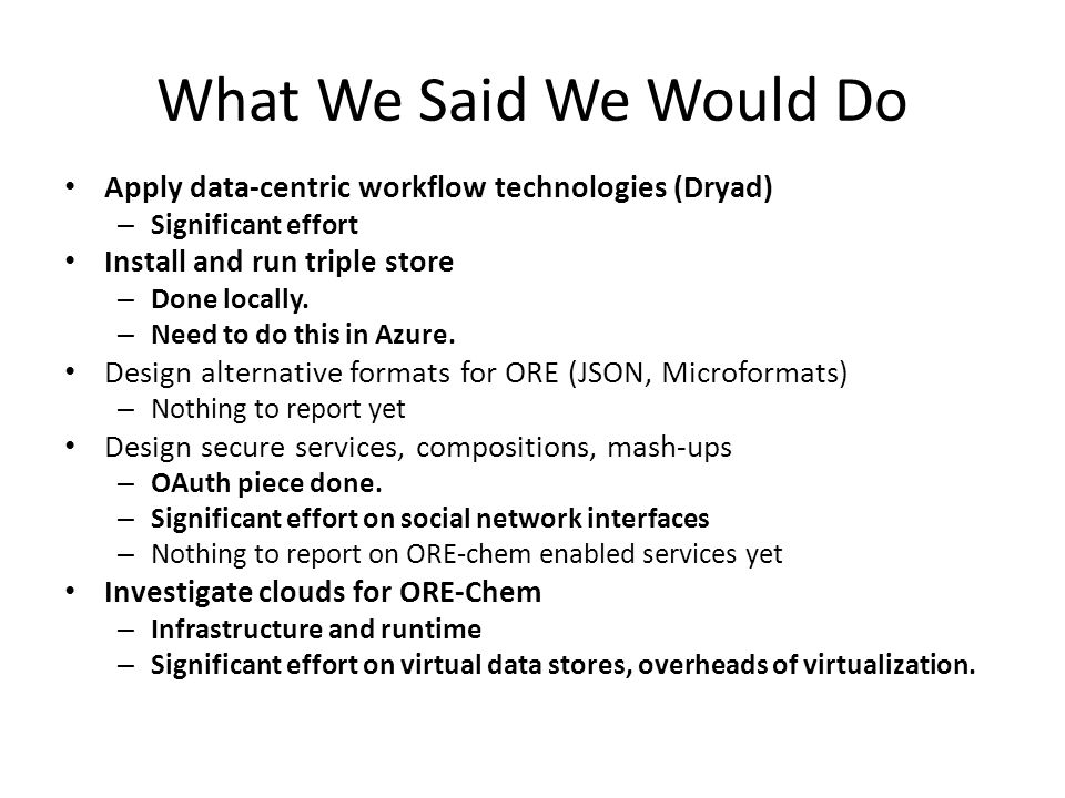 What We Said We Would Do Apply data-centric workflow technologies (Dryad) – Significant effort Install and run triple store – Done locally.