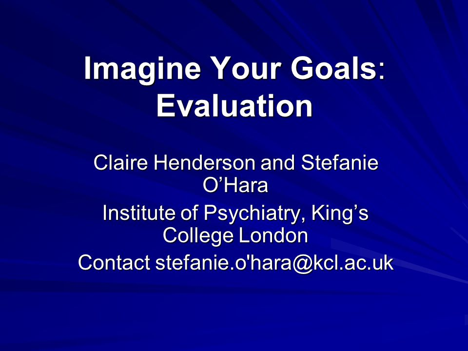 Aim To examine the effectiveness of Imagine Your Goals as (1) an exercise and social contact intervention and (2) a means to tackle stigma and discrimination among people associated with participating football clubs.