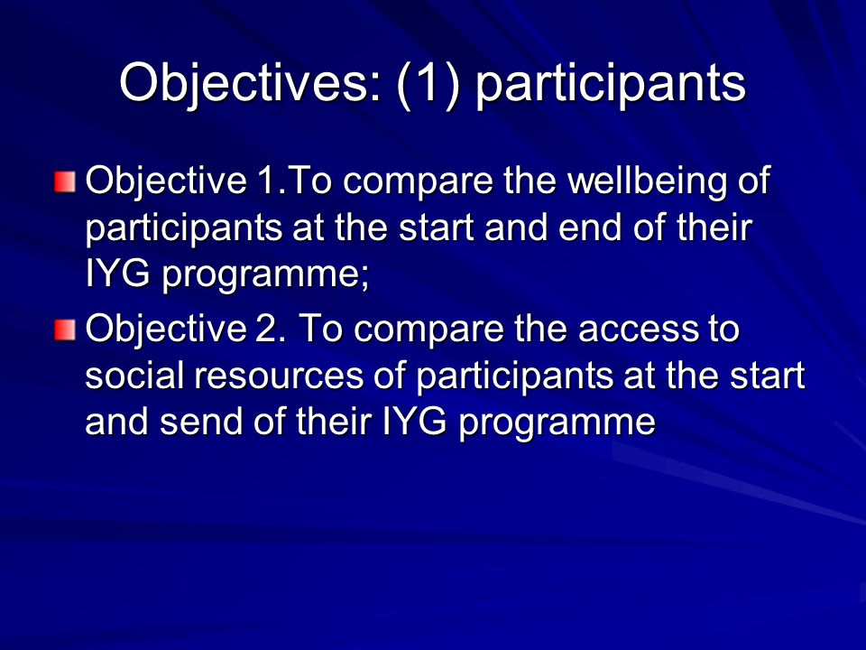 Objectives: (1) participants Objective 1.To compare the wellbeing of participants at the start and end of their IYG programme; Objective 2.