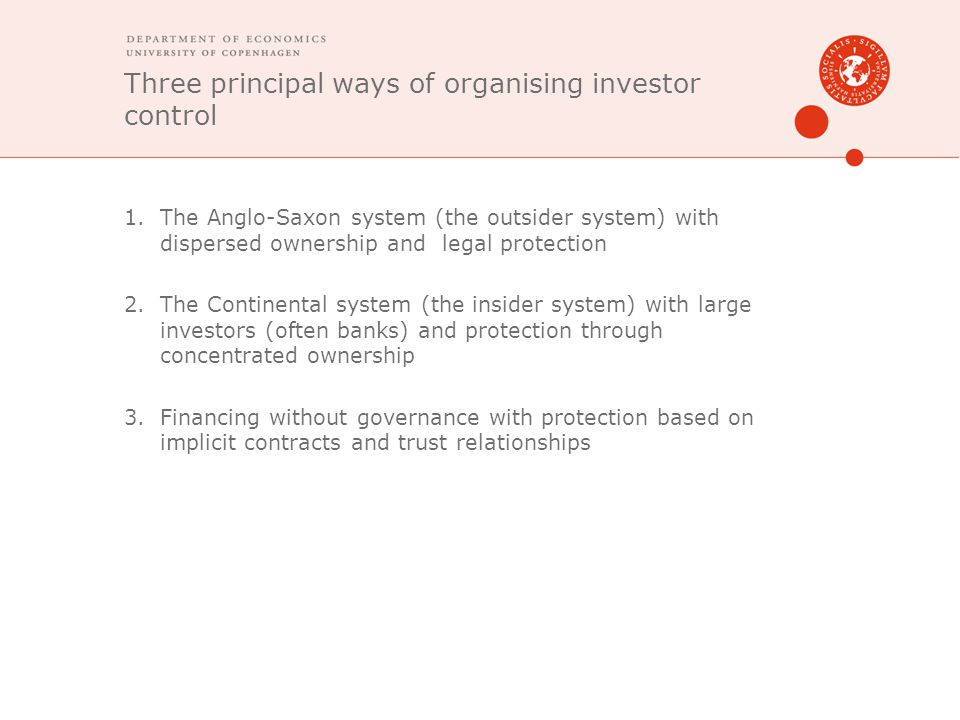 Three principal ways of organising investor control 1.The Anglo-Saxon system (the outsider system) with dispersed ownership and legal protection 2.The Continental system (the insider system) with large investors (often banks) and protection through concentrated ownership 3.Financing without governance with protection based on implicit contracts and trust relationships
