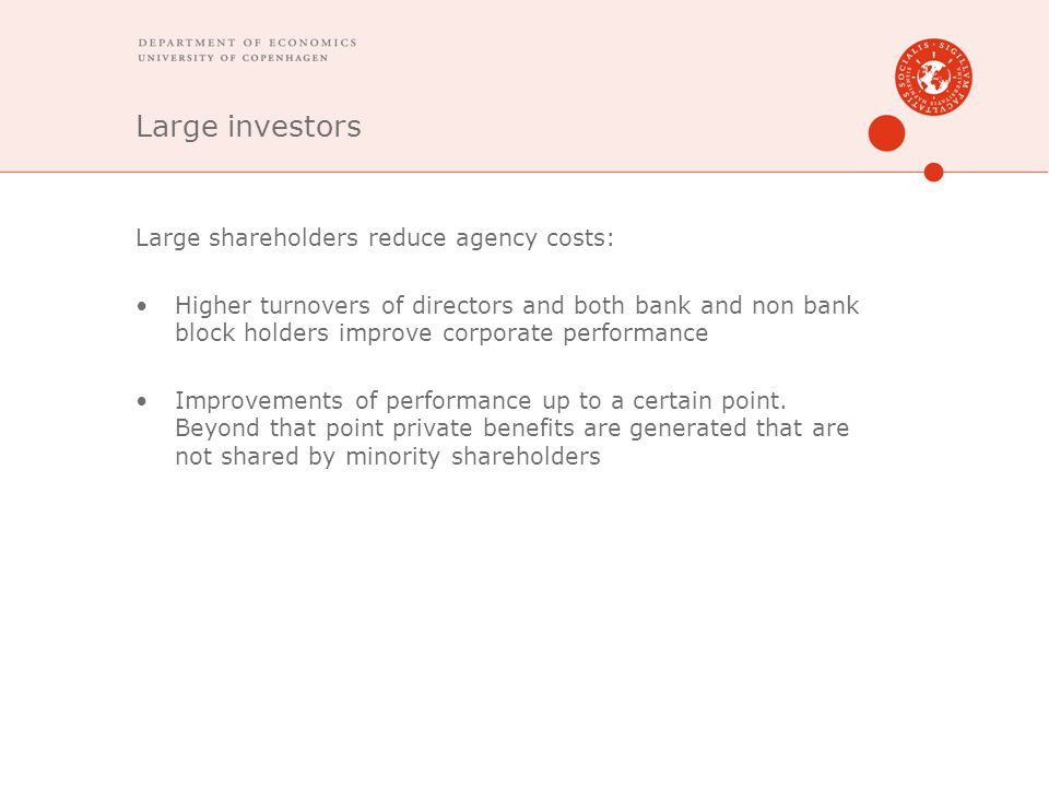 Large investors Large shareholders reduce agency costs: Higher turnovers of directors and both bank and non bank block holders improve corporate performance Improvements of performance up to a certain point.