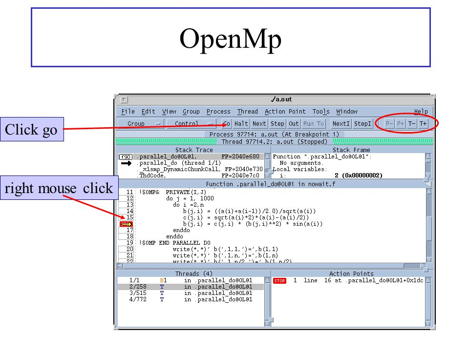 OpenMp right mouse click Click go