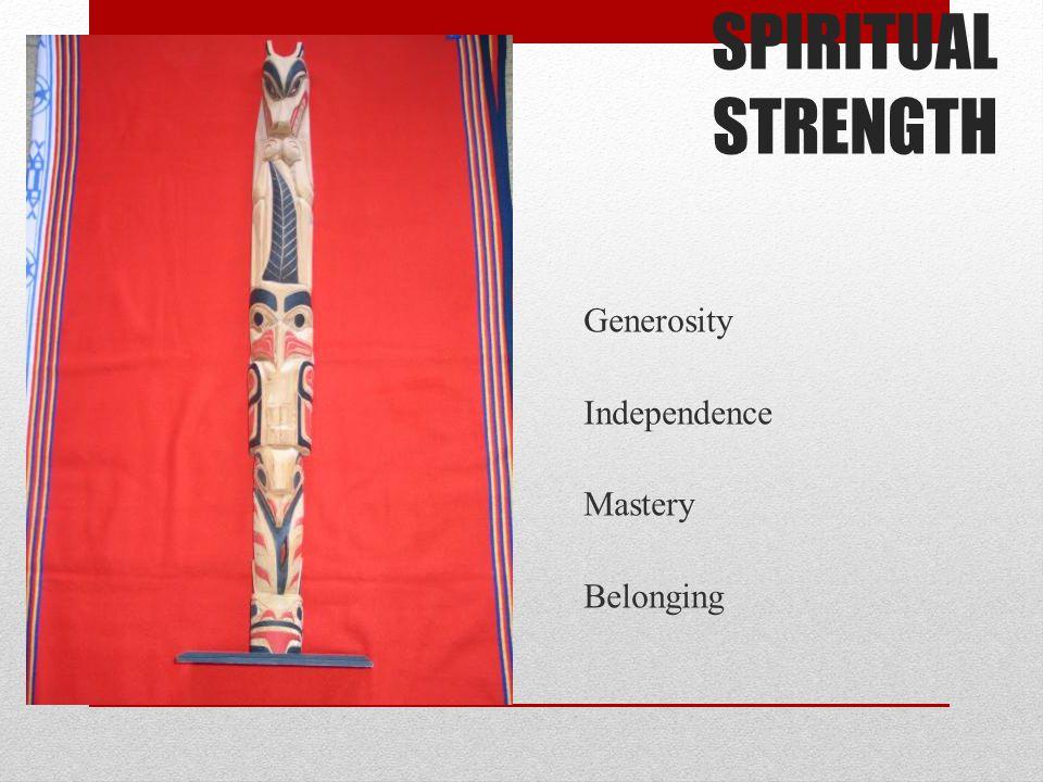 SPIRITUAL STRENGTH Generosity Independence Mastery Belonging