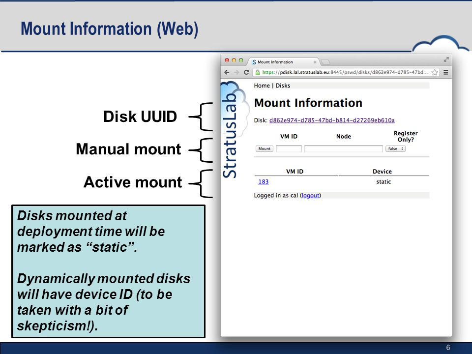 6 Mount Information (Web) Active mount Manual mount Disk UUID Disks mounted at deployment time will be marked as static .