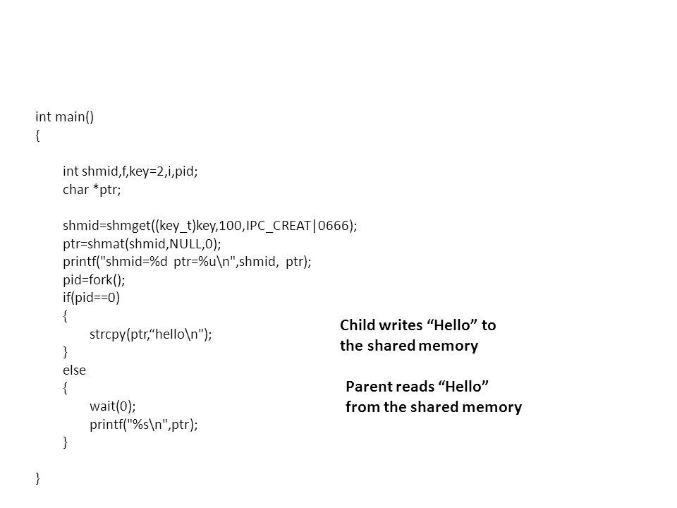 int main() { int shmid,f,key=2,i,pid; char *ptr; shmid=shmget((key_t)key,100,IPC_CREAT|0666); ptr=shmat(shmid,NULL,0); printf(