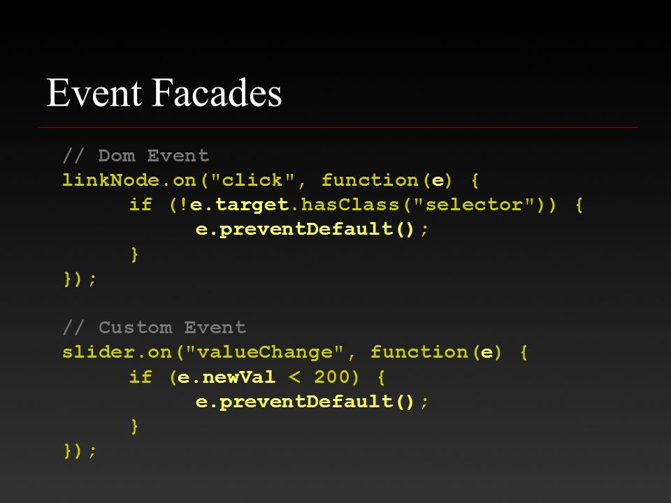 Event Facades // Dom Event linkNode.on( click , function(e) { if (!e.target.hasClass( selector )) { e.preventDefault(); } }); // Custom Event slider.on( valueChange , function(e) { if (e.newVal < 200) { e.preventDefault(); } });