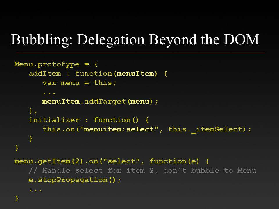 Bubbling: Delegation Beyond the DOM Menu.prototype = { addItem : function(menuItem) { var menu = this;... menuItem.addTarget(menu); }, initializer : f