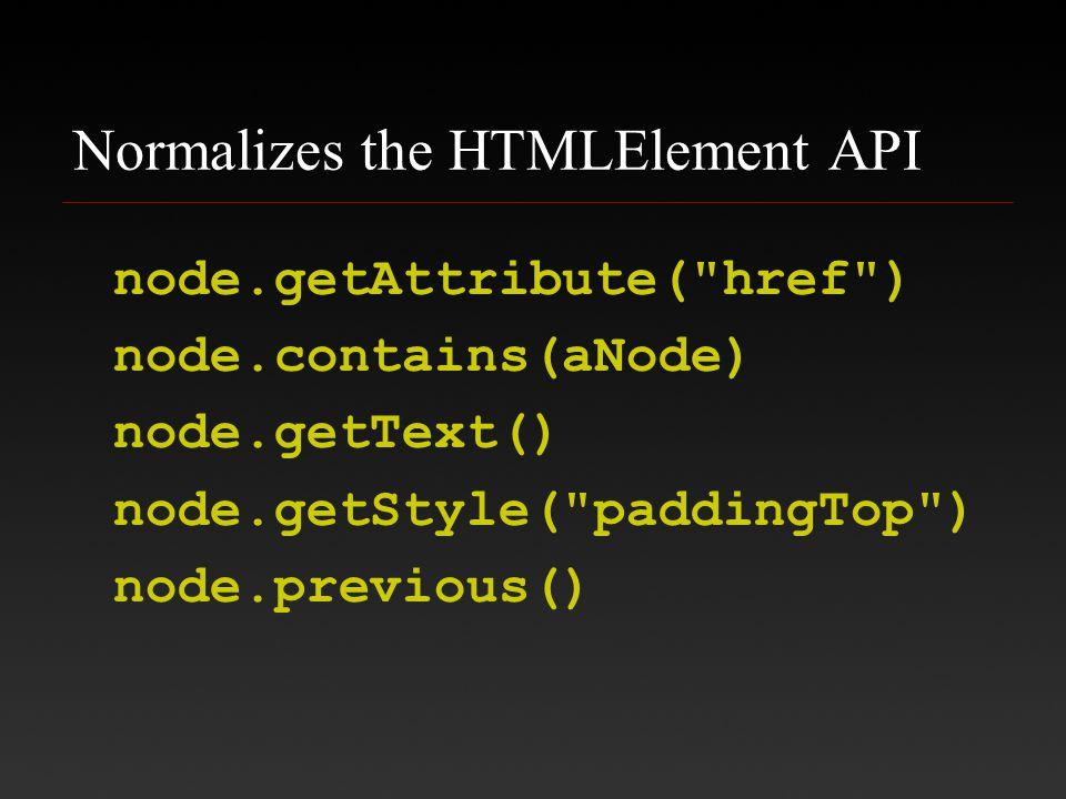 Normalizes the HTMLElement API node.getAttribute( href ) node.contains(aNode) node.getText() node.getStyle( paddingTop ) node.previous()