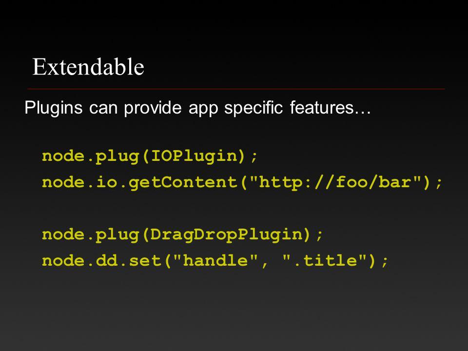 Extendable Plugins can provide app specific features… node.plug(IOPlugin); node.io.getContent( http://foo/bar ); node.plug(DragDropPlugin); node.dd.set( handle , .title );
