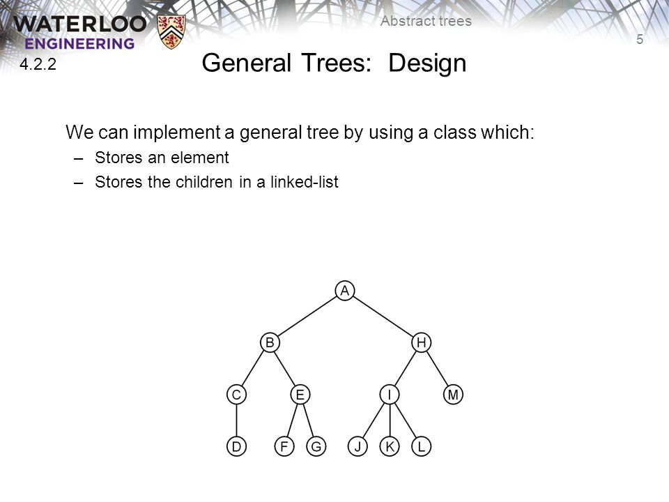 5 Abstract trees General Trees: Design We can implement a general tree by using a class which: –Stores an element –Stores the children in a linked-list 4.2.2