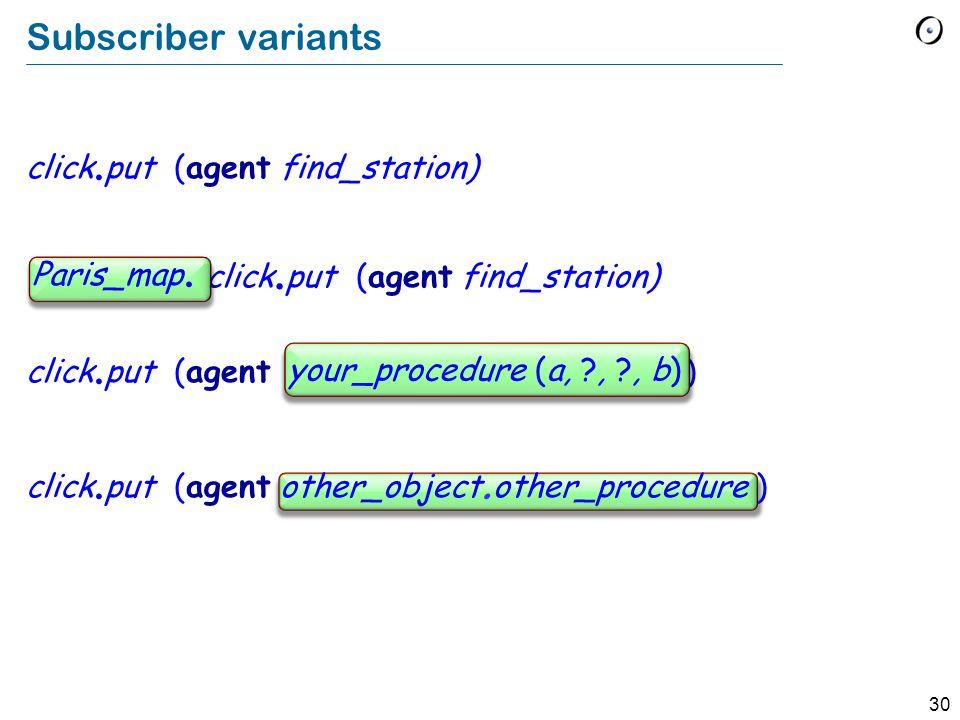 30 Subscriber variants click. put (agent find_station) click.