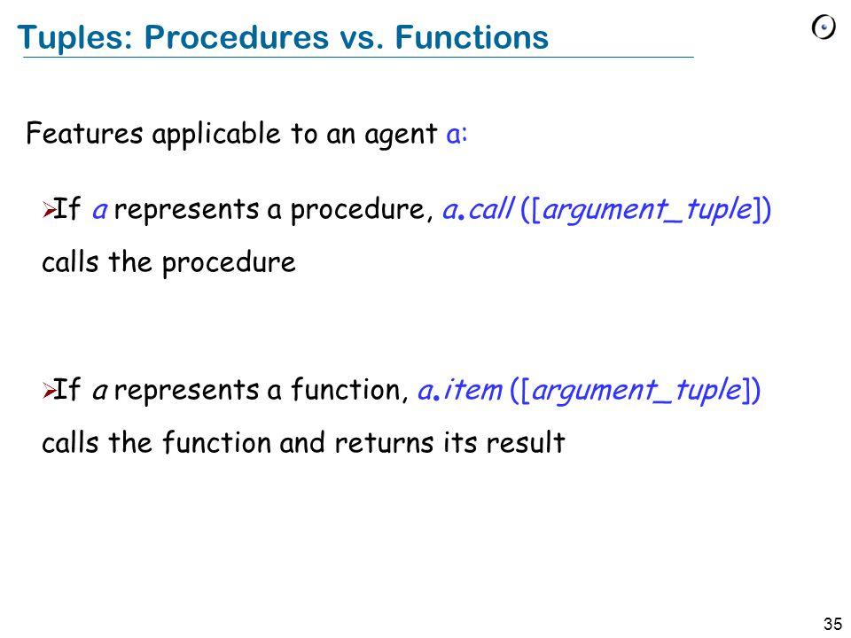 35 Tuples: Procedures vs.