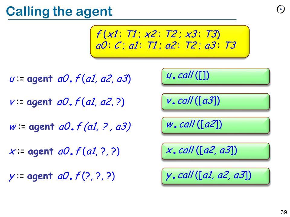 39 Calling the agent f (x1 : T1 ; x2 : T2 ; x3 : T3) a0 : C ; a1 : T1 ; a2 : T2 ; a3 : T3 u := agent a0.