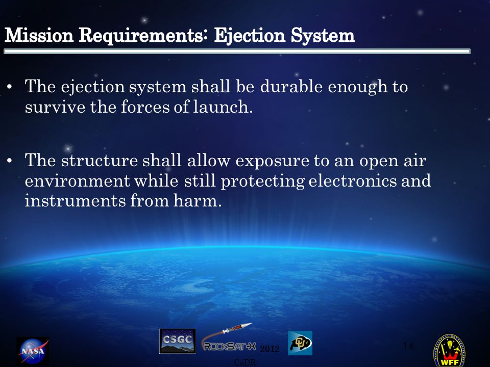 2012 CoDR The ejection system shall be durable enough to survive the forces of launch.