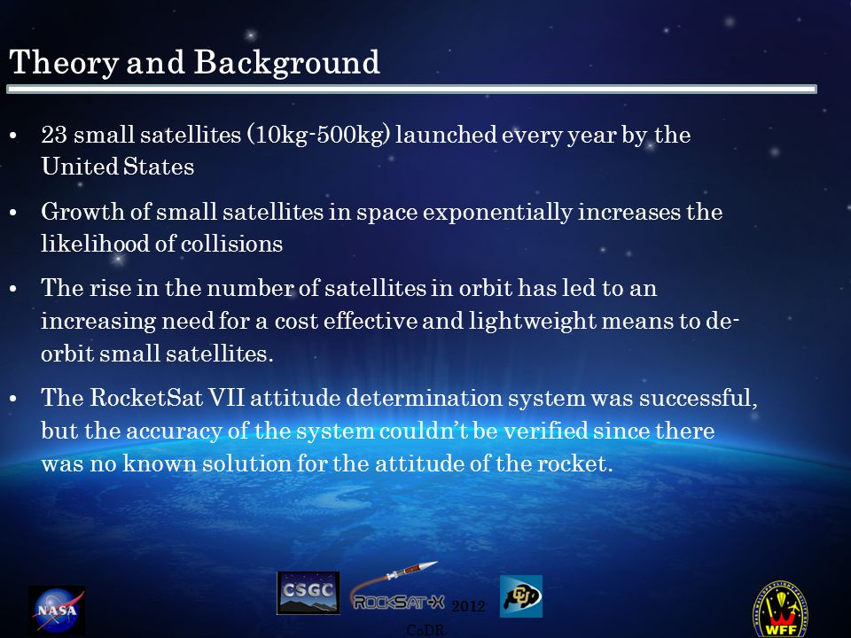 2012 CoDR Theory and Background 23 small satellites (10kg-500kg) launched every year by the United States Growth of small satellites in space exponentially increases the likelihood of collisions The rise in the number of satellites in orbit has led to an increasing need for a cost effective and lightweight means to de- orbit small satellites.