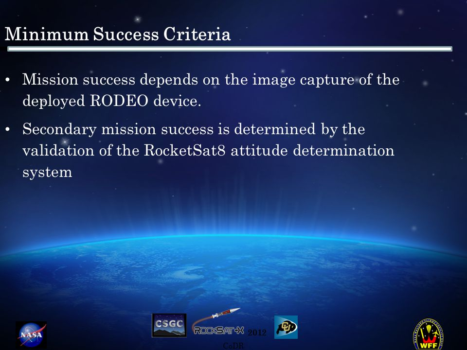 2012 CoDR Mission overview: Concept of Operations Continue Telemetry Splash Down End Telemetry Pre-Launch -Begin Telemetry -Begin attitude data collection Deploy RTS RTS data collection Send Data from RTS to payload Apogee Altitude: ≈160 km Initialize Camera Begin Rodeo Deployment Chute Deployment Continue Telemetry