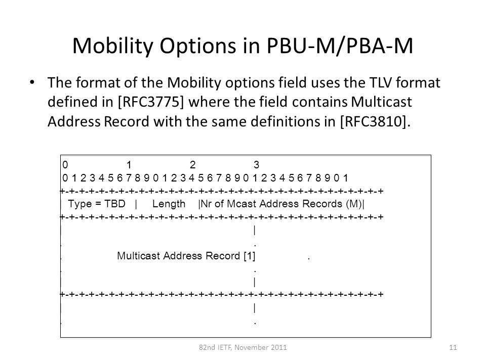 Mobility Options in PBU-M/PBA-M The format of the Mobility options field uses the TLV format defined in [RFC3775] where the field contains Multicast Address Record with the same definitions in [RFC3810].