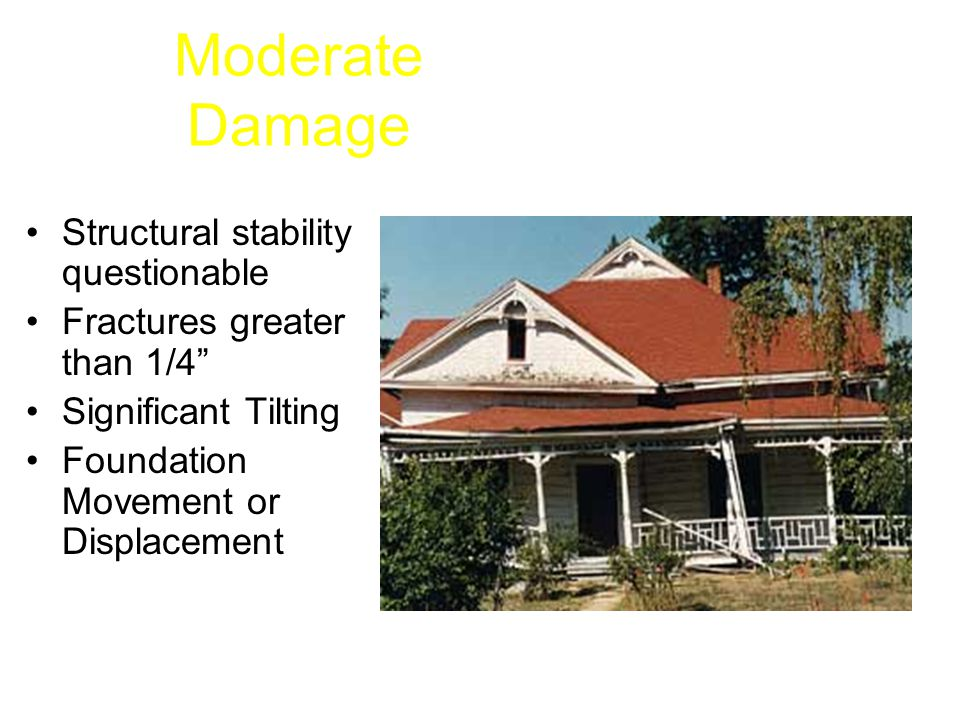 Moderate Damage Structural stability questionable Fractures greater than 1/4 Significant Tilting Foundation Movement or Displacement