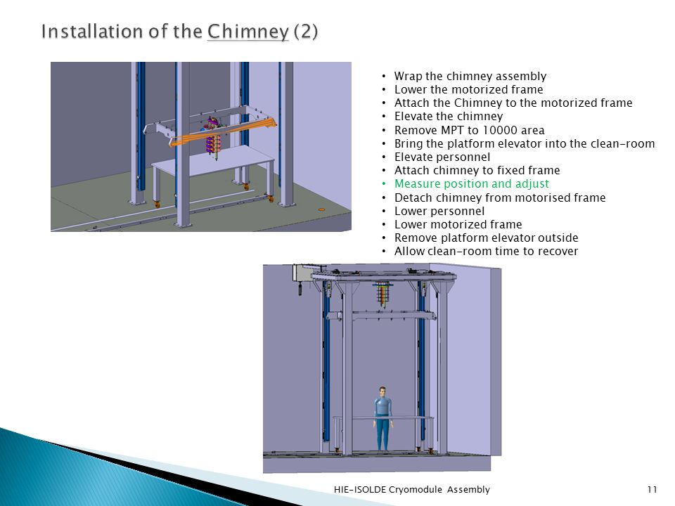 HIE-ISOLDE Cryomodule Assembly11 Wrap the chimney assembly Lower the motorized frame Attach the Chimney to the motorized frame Elevate the chimney Remove MPT to 10000 area Bring the platform elevator into the clean-room Elevate personnel Attach chimney to fixed frame Measure position and adjust Detach chimney from motorised frame Lower personnel Lower motorized frame Remove platform elevator outside Allow clean-room time to recover