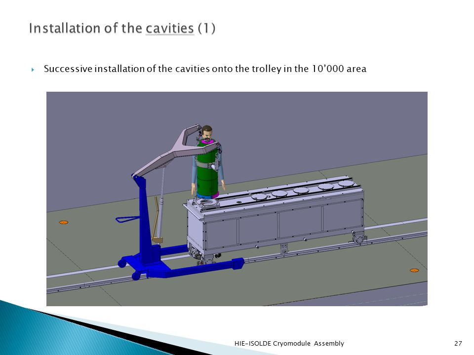  Successive installation of the cavities onto the trolley in the 10'000 area HIE-ISOLDE Cryomodule Assembly27