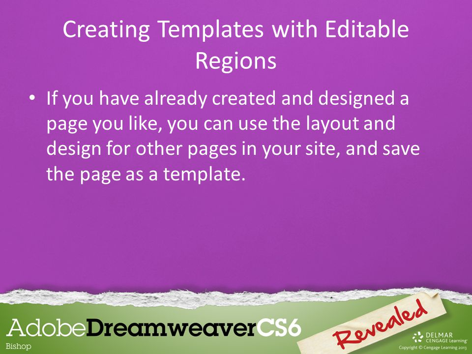Template in Assets panel Assets panel Templates button Preview of selected template List of templates available in this site Creating Templates with Editable Regions