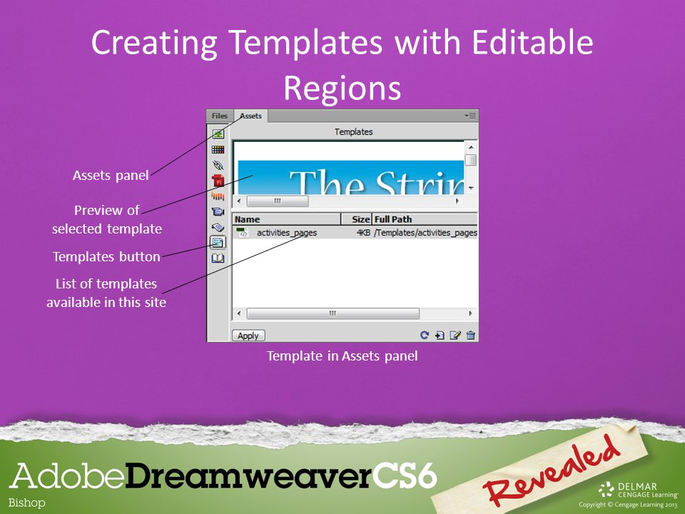 To edit, delete, or add content in editable regions of a template-based page: – You can select the element you want to modify and make the changes.