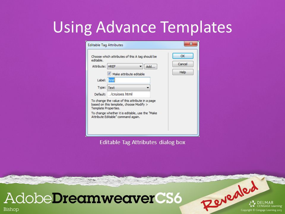 Editable Tag Attributes dialog box Using Advance Templates