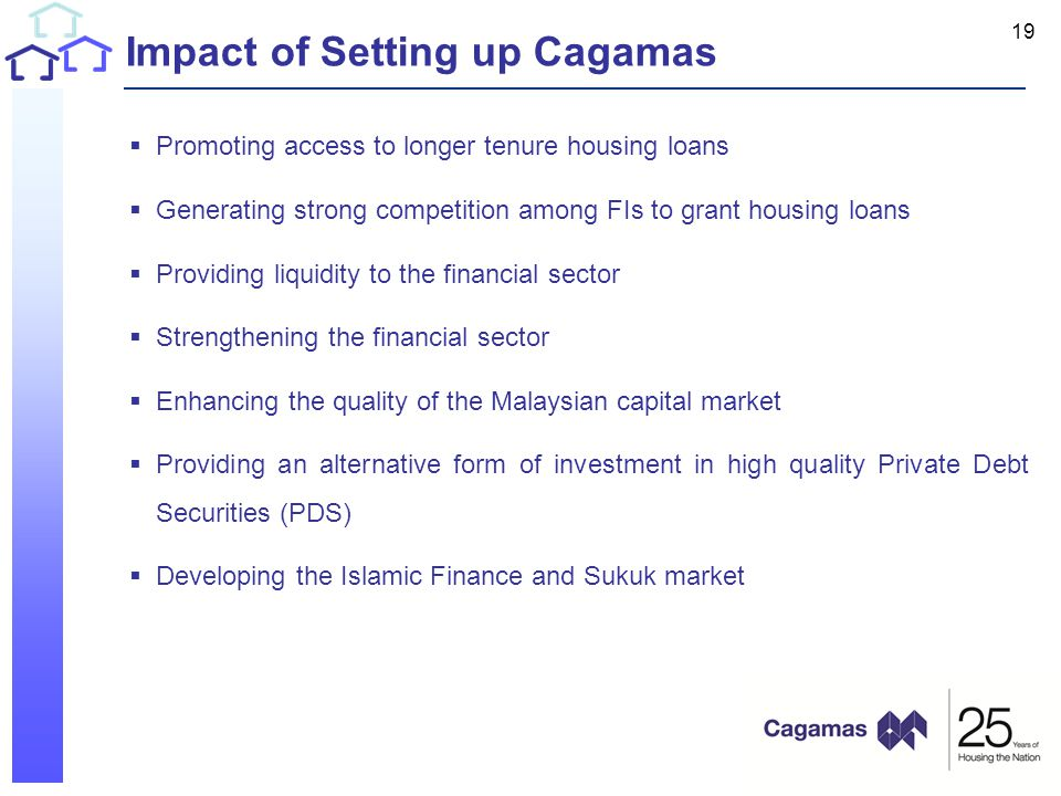 Impact of Setting up Cagamas  Promoting access to longer tenure housing loans  Generating strong competition among FIs to grant housing loans  Providing liquidity to the financial sector  Strengthening the financial sector  Enhancing the quality of the Malaysian capital market  Providing an alternative form of investment in high quality Private Debt Securities (PDS)  Developing the Islamic Finance and Sukuk market 19