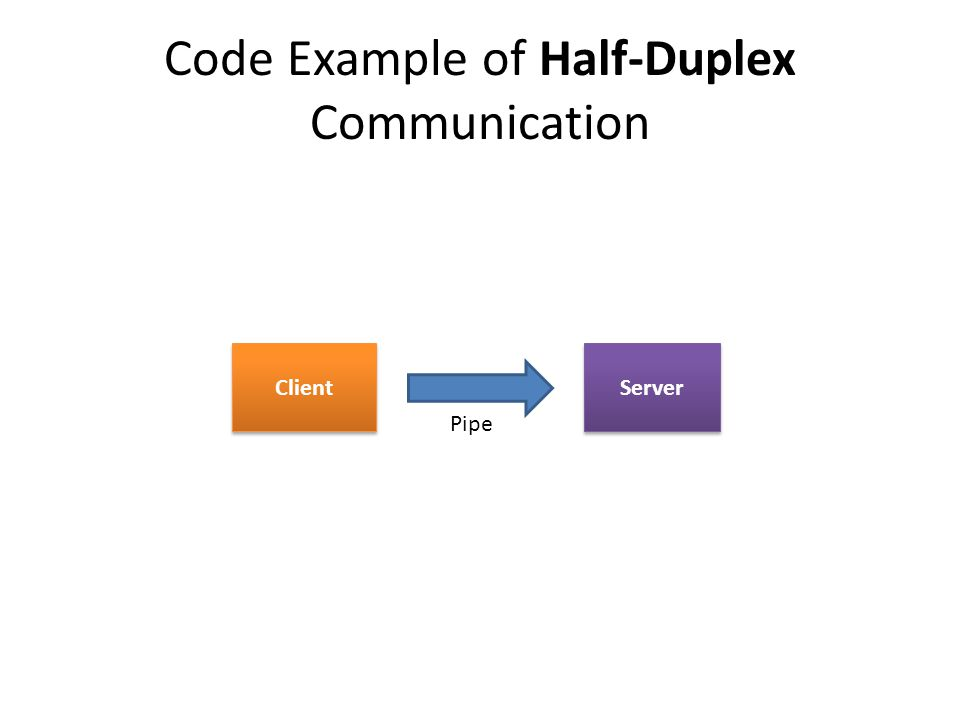 Code Example of Half-Duplex Communication Client Server Pipe