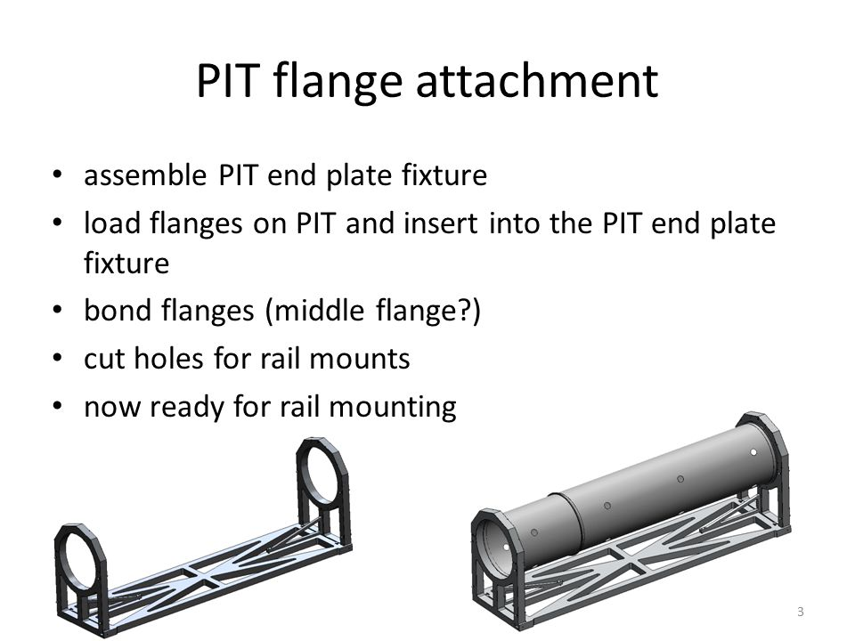 PIT flange attachment assemble PIT end plate fixture load flanges on PIT and insert into the PIT end plate fixture bond flanges (middle flange ) cut holes for rail mounts now ready for rail mounting 3