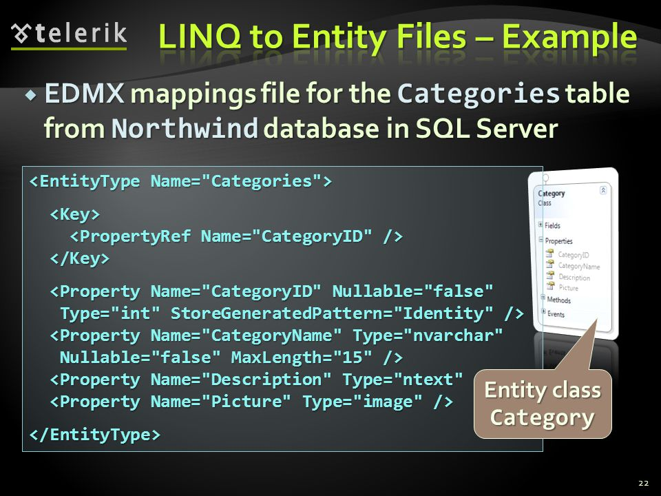  EDMX mappings file for the Categories table from Northwind database in SQL Server 22 <Property Name=