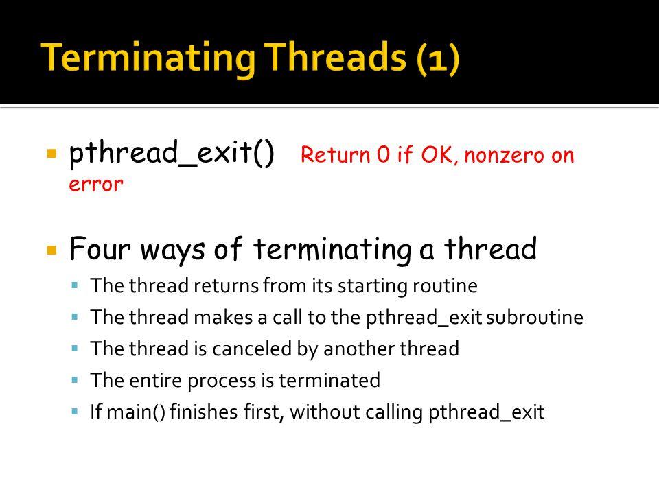  Example of pthread_exit()