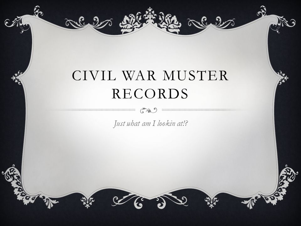 CIVIL WAR MUSTER RECORDS Just what am I lookin at!