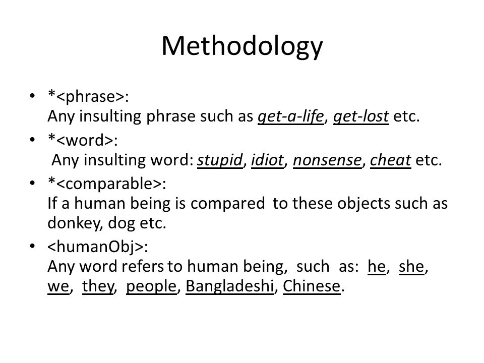 Methodology * : Any insulting phrase such as get-a-life, get-lost etc.