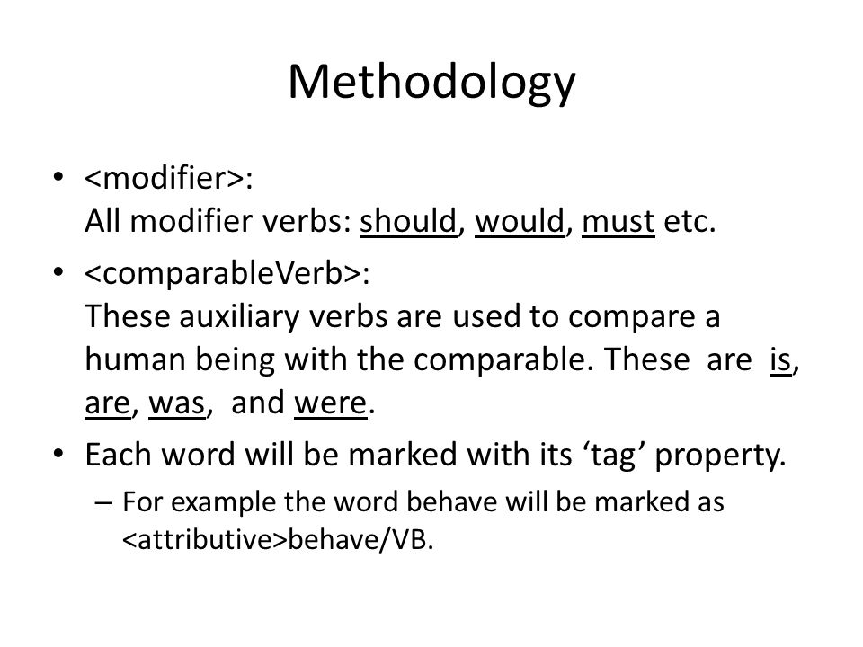 Methodology : All modifier verbs: should, would, must etc.